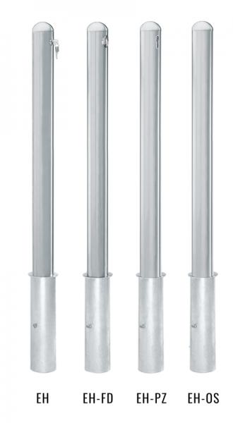 Edelstahlpoller DMR.76 mm mit Halbrundkopf herausnehmbar