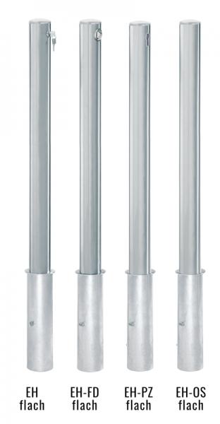 Edelstahlpoller DMR.76 mm mit Flachkopf herausnehmbar